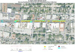 N. Santa Cruz Ave. will become a one-way street heading southbound through downtown between Bachman & Elm.